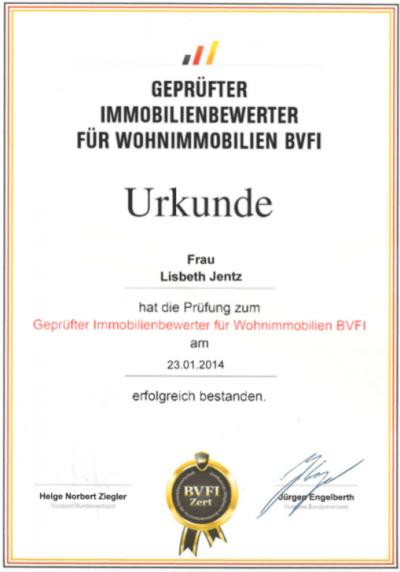 Urkunde Jentz